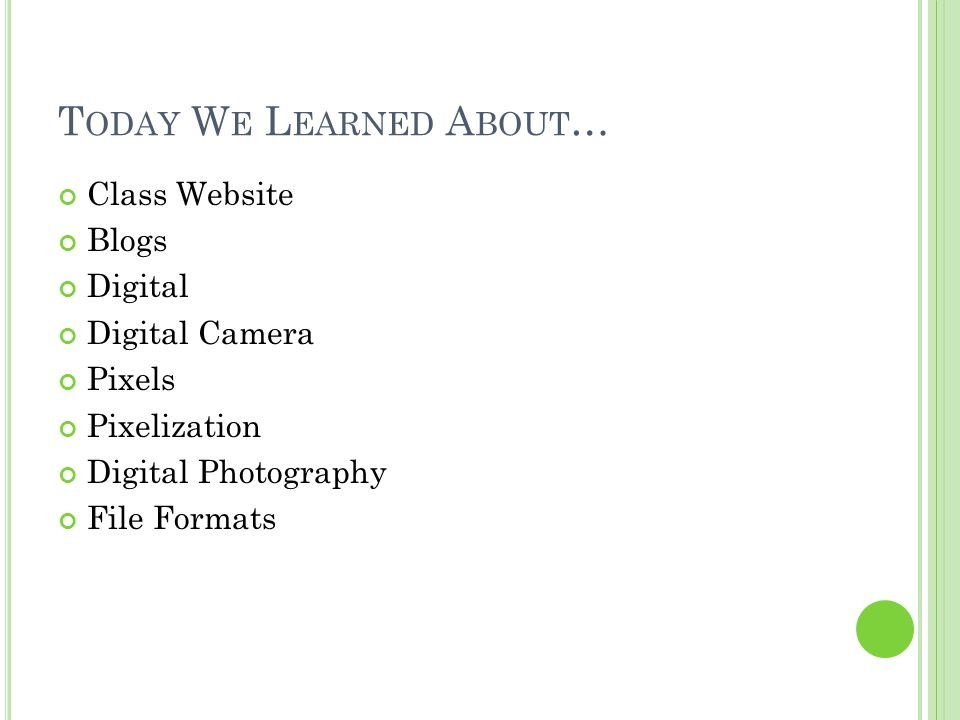 T ODAY W E L EARNED A BOUT … Class Website Blogs Digital Digital Camera Pixels Pixelization Digital Photography File Formats