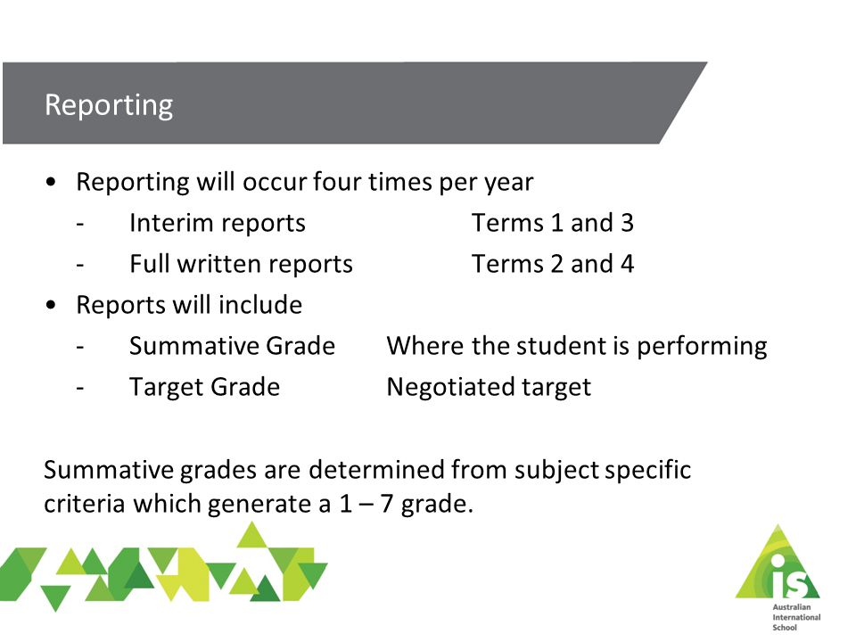 Reporting will occur four times per year -Interim reportsTerms 1 and 3 - Full written reportsTerms 2 and 4 Reports will include -Summative GradeWhere the student is performing - Target GradeNegotiated target Summative grades are determined from subject specific criteria which generate a 1 – 7 grade.