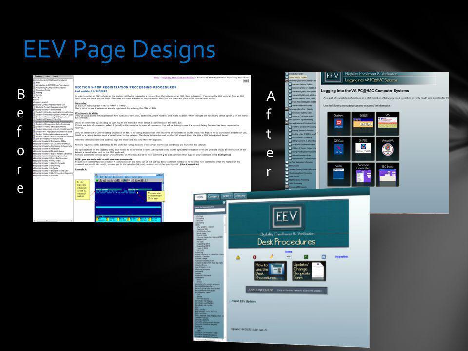 EEV Page Designs BeforeBefore AfterAfter
