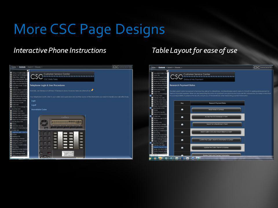 Interactive Phone InstructionsTable Layout for ease of use More CSC Page Designs