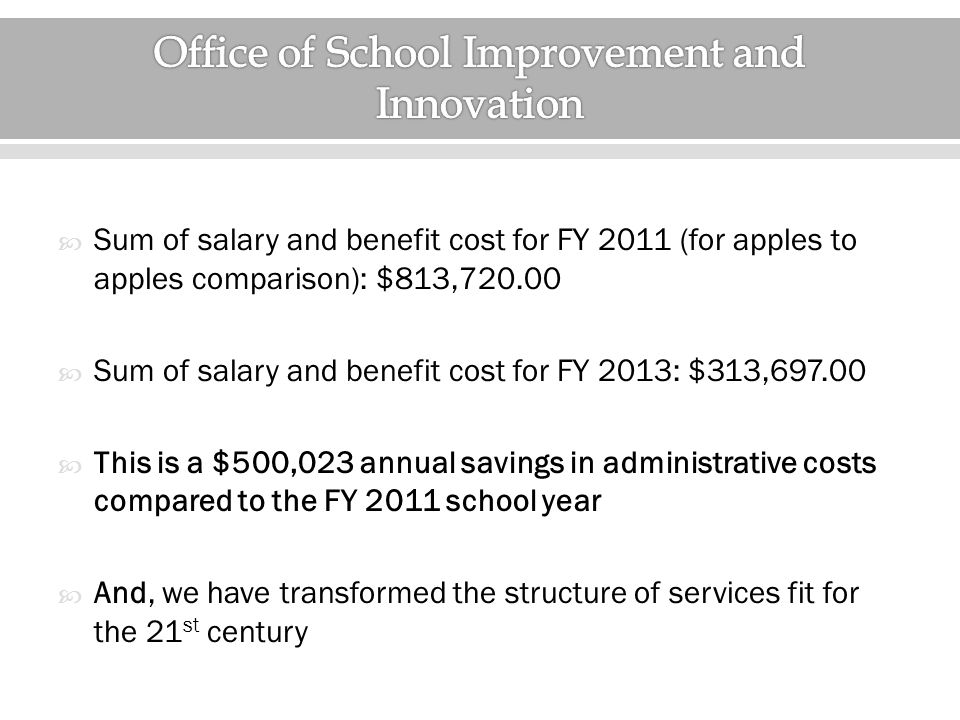  Sum of salary and benefit cost for FY 2011 (for apples to apples comparison): $813,720.00  Sum of salary and benefit cost for FY 2013: $313,697.00  This is a $500,023 annual savings in administrative costs compared to the FY 2011 school year  And, we have transformed the structure of services fit for the 21 st century