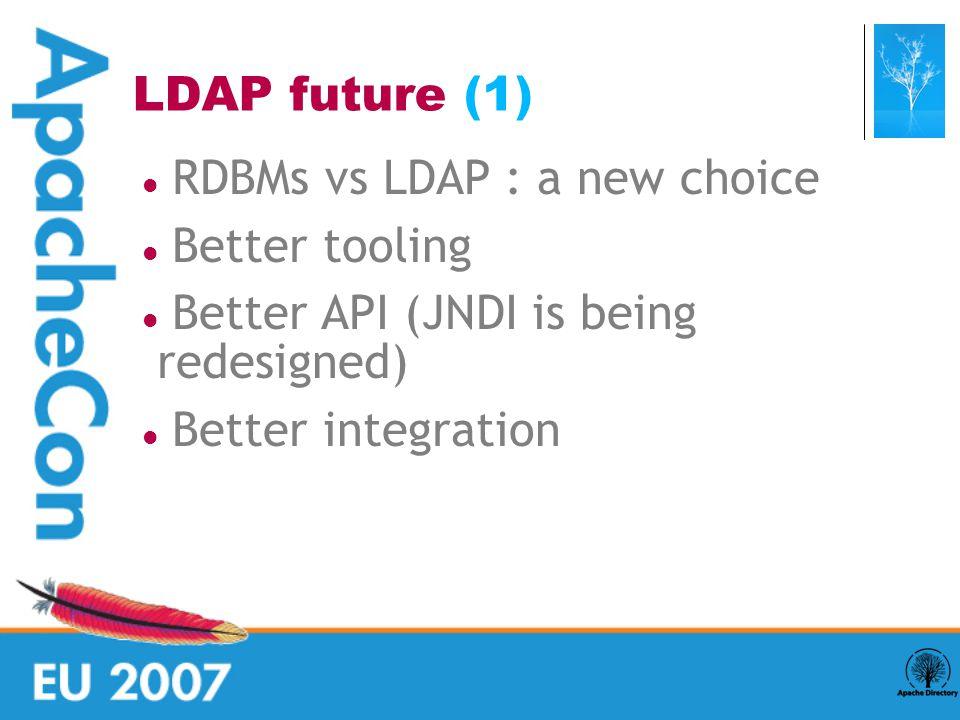 RDBMs vs LDAP : a new choice Better tooling Better API (JNDI is being redesigned)  Better integration LDAP future (1) 