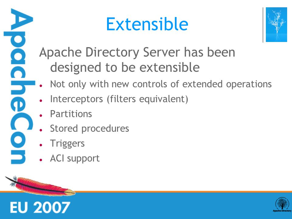 Extensible Apache Directory Server has been designed to be extensible Not only with new controls of extended operations Interceptors (filters equivalent) ‏ Partitions Stored procedures Triggers ACI support