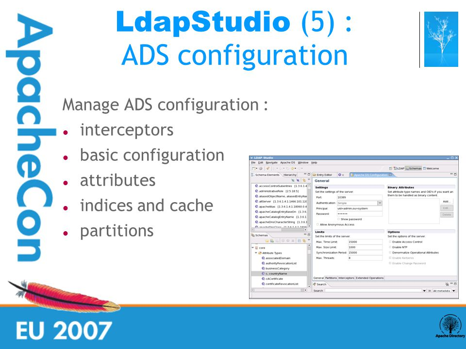 Manage ADS configuration : interceptors basic configuration attributes indices and cache partitions LdapStudio (5) : ADS configuration
