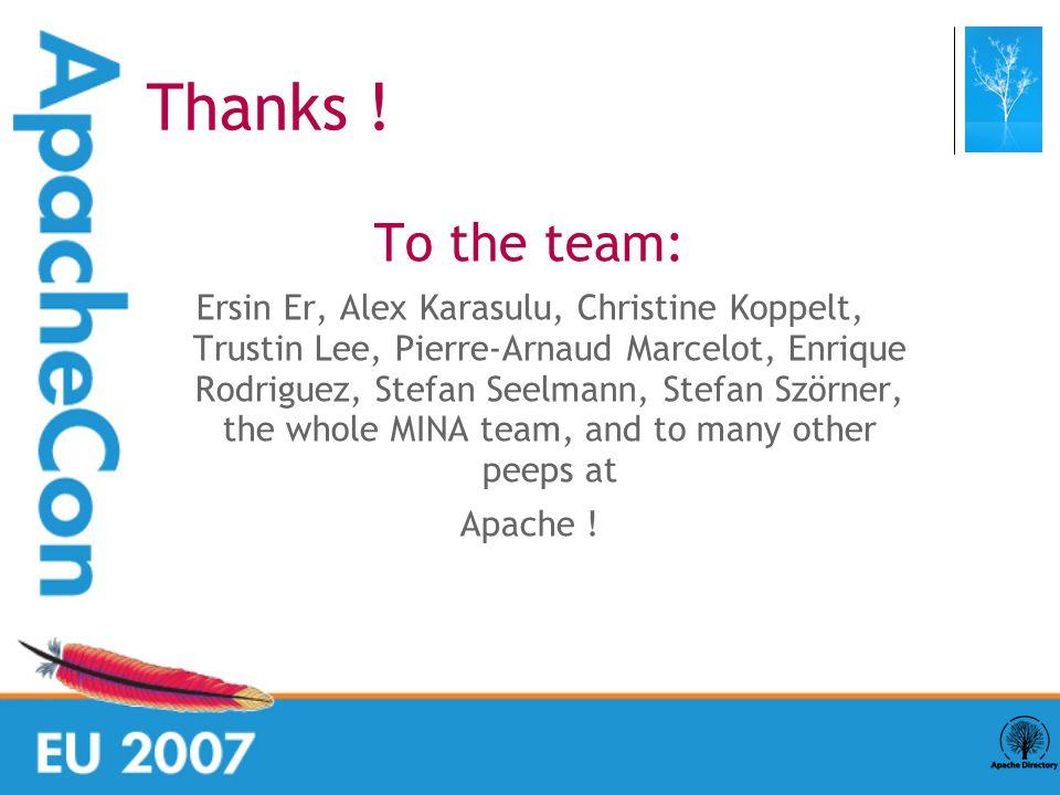 To the team: Ersin Er, Alex Karasulu, Christine Koppelt, Trustin Lee, Pierre-Arnaud Marcelot, Enrique Rodriguez, Stefan Seelmann, Stefan Szörner, the whole MINA team, and to many other peeps at Apache .