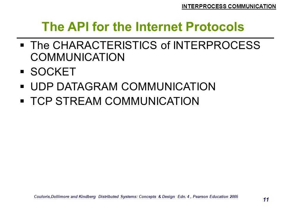 INTERPROCESS COMMUNICATION 11 The API for the Internet Protocols  The CHARACTERISTICS of INTERPROCESS COMMUNICATION  SOCKET  UDP DATAGRAM COMMUNICA