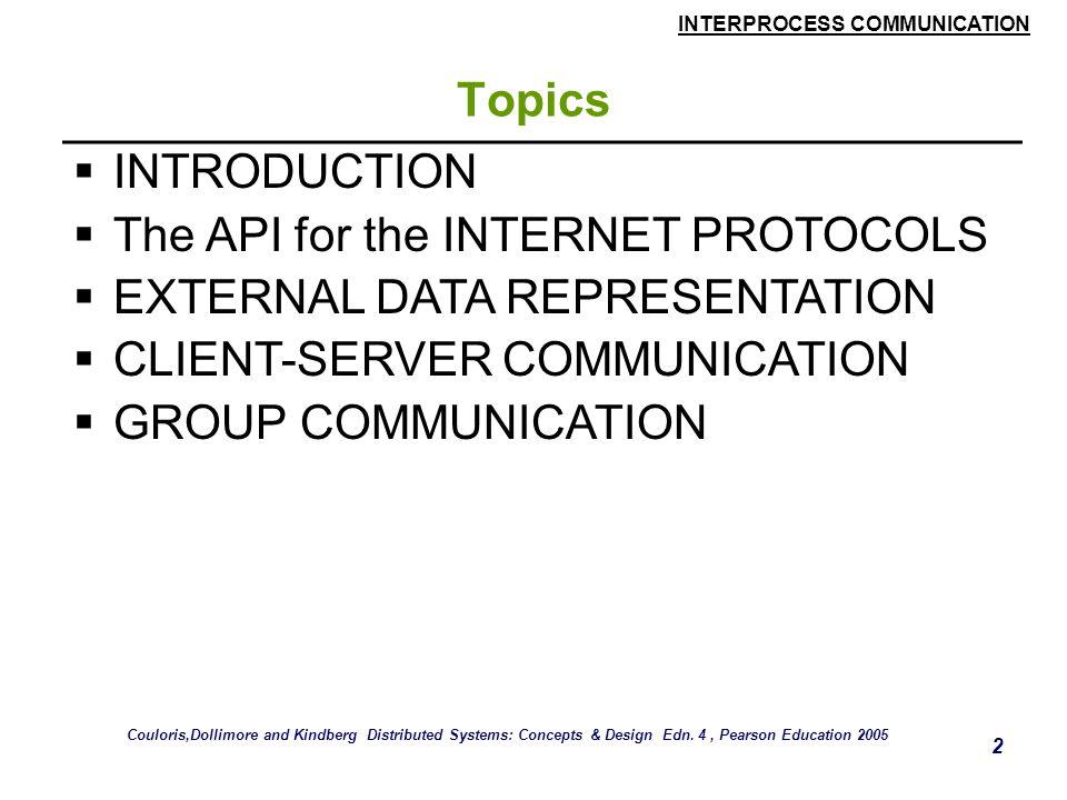 INTERPROCESS COMMUNICATION 2 Topics  INTRODUCTION  The API for the INTERNET PROTOCOLS  EXTERNAL DATA REPRESENTATION  CLIENT-SERVER COMMUNICATION 