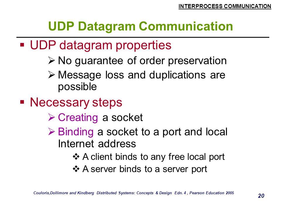 INTERPROCESS COMMUNICATION 20 UDP Datagram Communication  UDP datagram properties  No guarantee of order preservation  Message loss and duplication