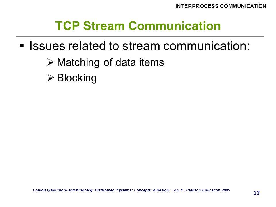 INTERPROCESS COMMUNICATION 33 TCP Stream Communication  Issues related to stream communication:  Matching of data items  Blocking Couloris,Dollimor