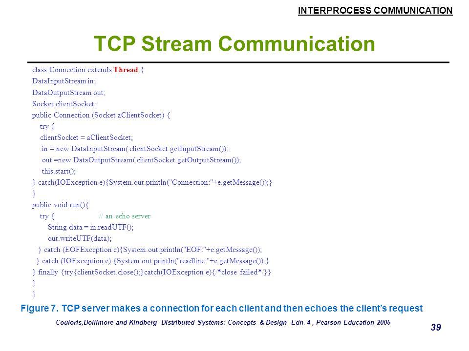 INTERPROCESS COMMUNICATION 39 TCP Stream Communication class Connection extends Thread { DataInputStream in; DataOutputStream out; Socket clientSocket