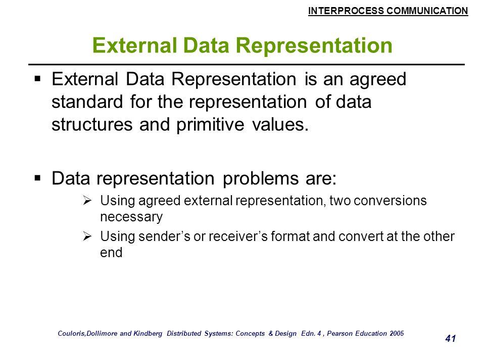 INTERPROCESS COMMUNICATION 41 External Data Representation  External Data Representation is an agreed standard for the representation of data structu