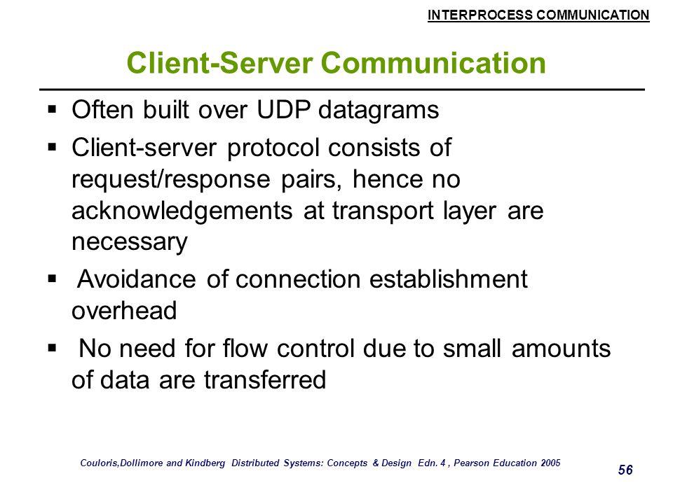 INTERPROCESS COMMUNICATION 56 Client-Server Communication  Often built over UDP datagrams  Client-server protocol consists of request/response pairs