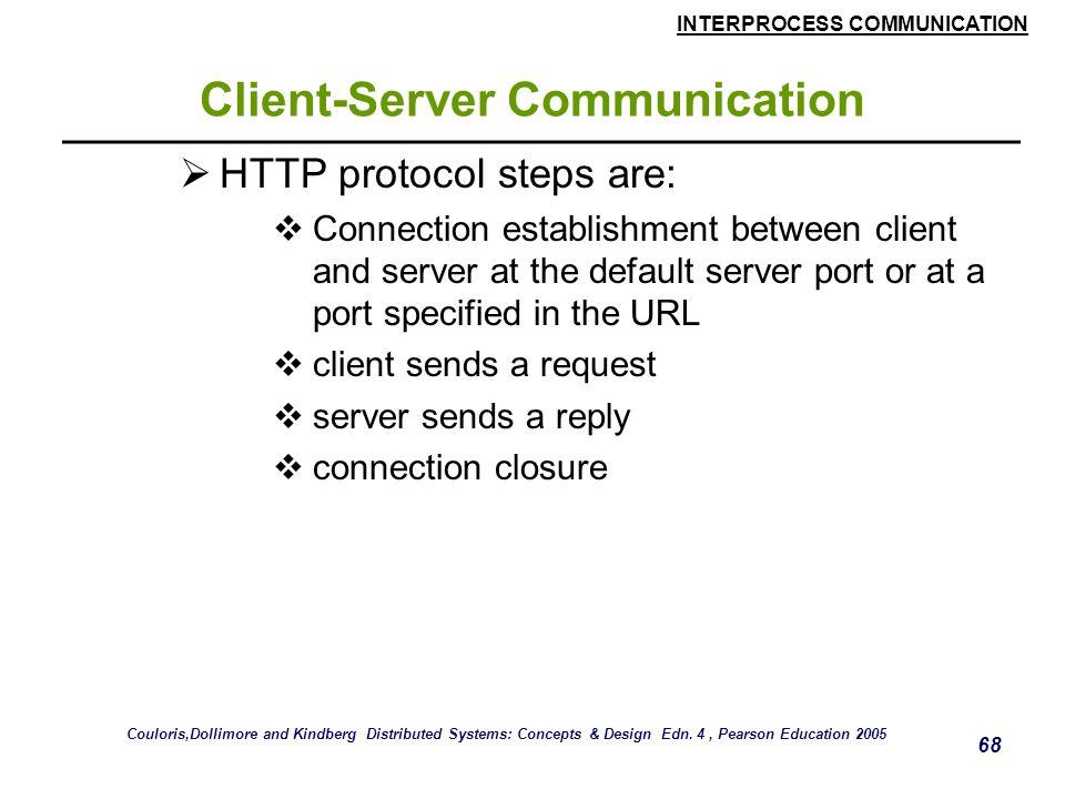 INTERPROCESS COMMUNICATION 68 Client-Server Communication  HTTP protocol steps are:  Connection establishment between client and server at the defau
