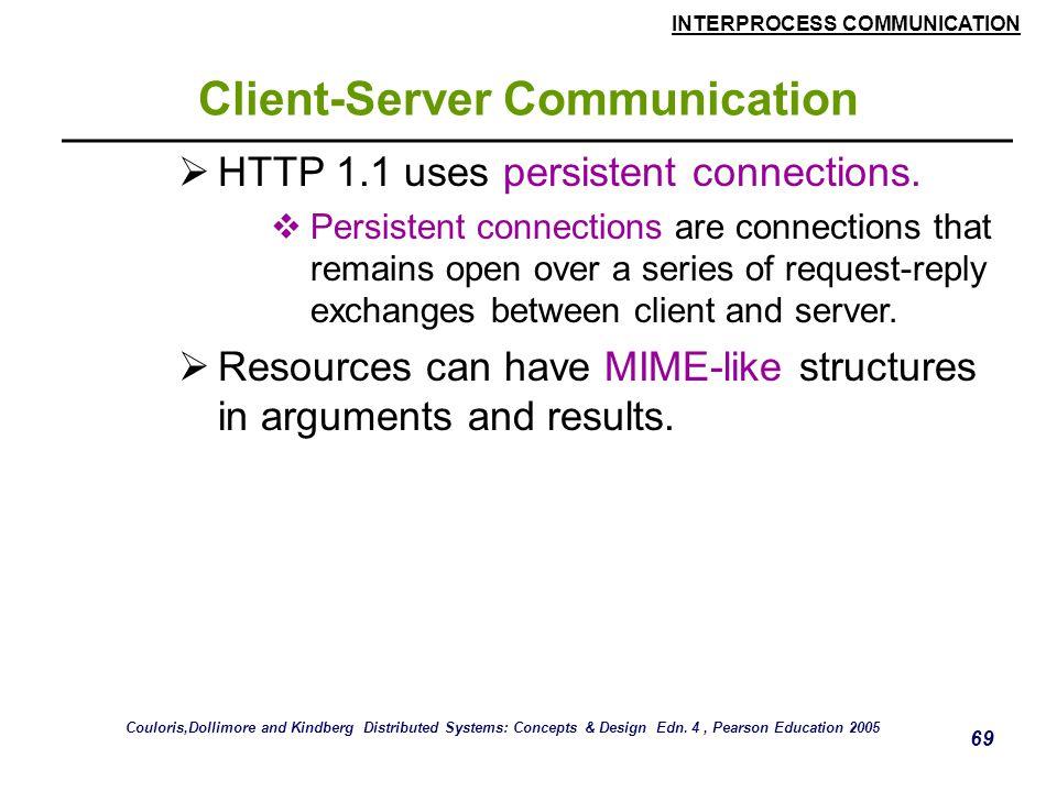 INTERPROCESS COMMUNICATION 69 Client-Server Communication  HTTP 1.1 uses persistent connections.  Persistent connections are connections that remain