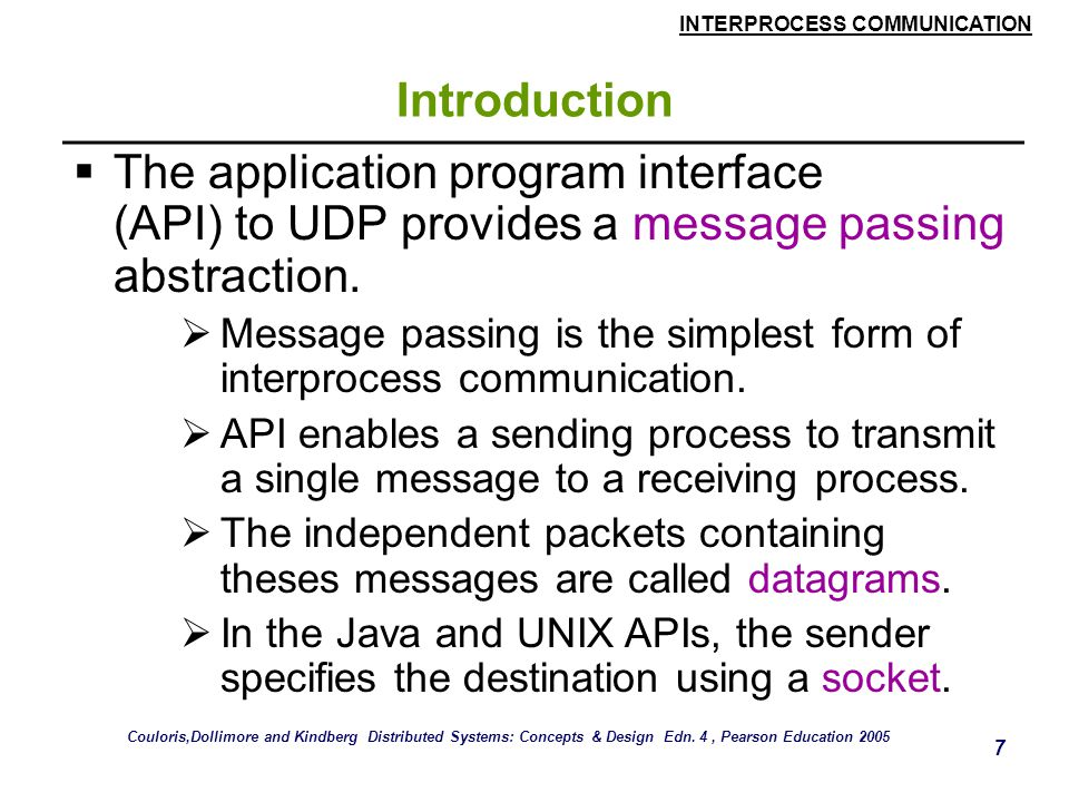 INTERPROCESS COMMUNICATION 8 Introduction  Socket is an indirect reference to a particular port used by the destination process at a destination computer.