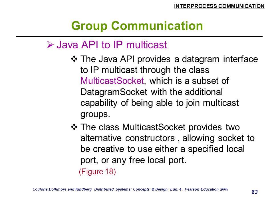 INTERPROCESS COMMUNICATION 83 Group Communication  Java API to IP multicast  The Java API provides a datagram interface to IP multicast through the