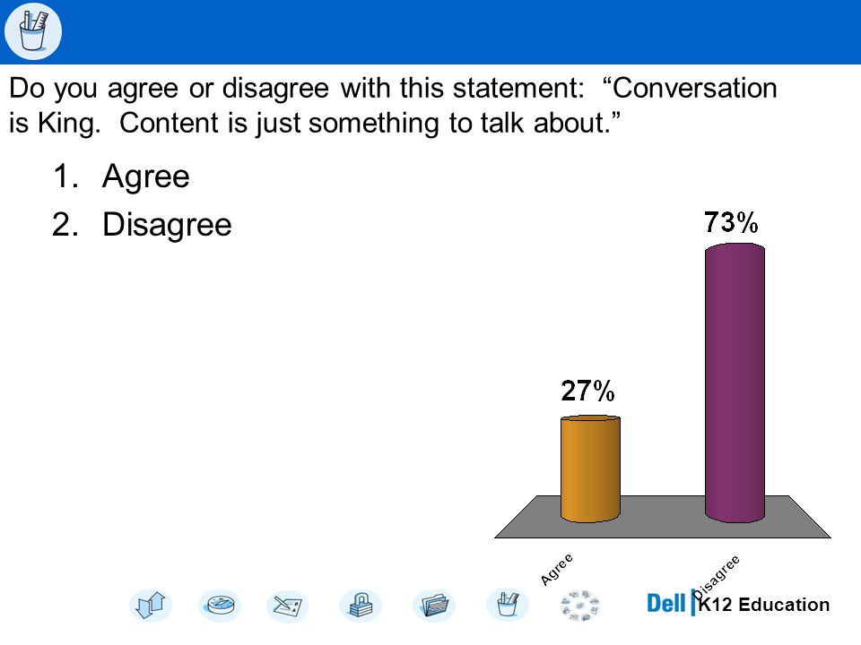 K12 Education Do you agree or disagree with this statement: Conversation is King.
