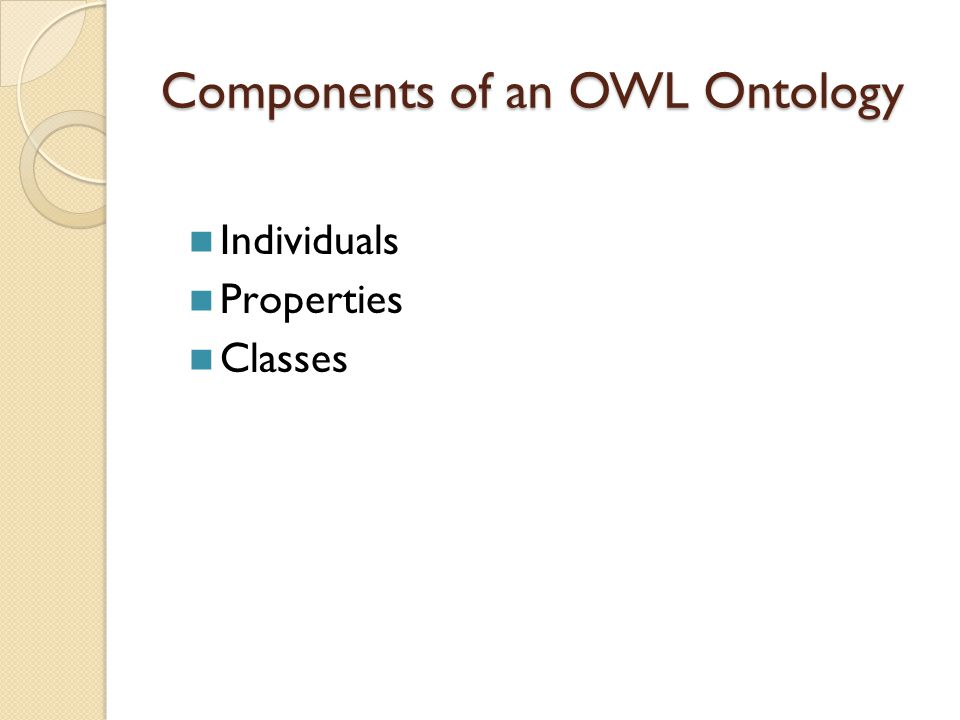 Components of an OWL Ontology Individuals Properties Classes