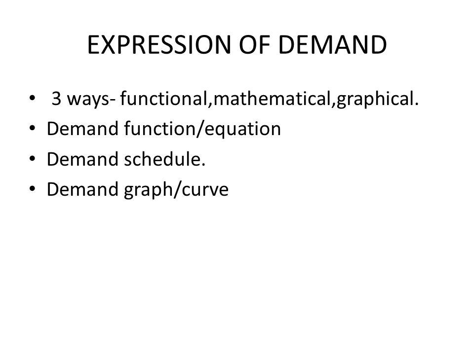 EXPRESSION OF DEMAND 3 ways- functional,mathematical,graphical.