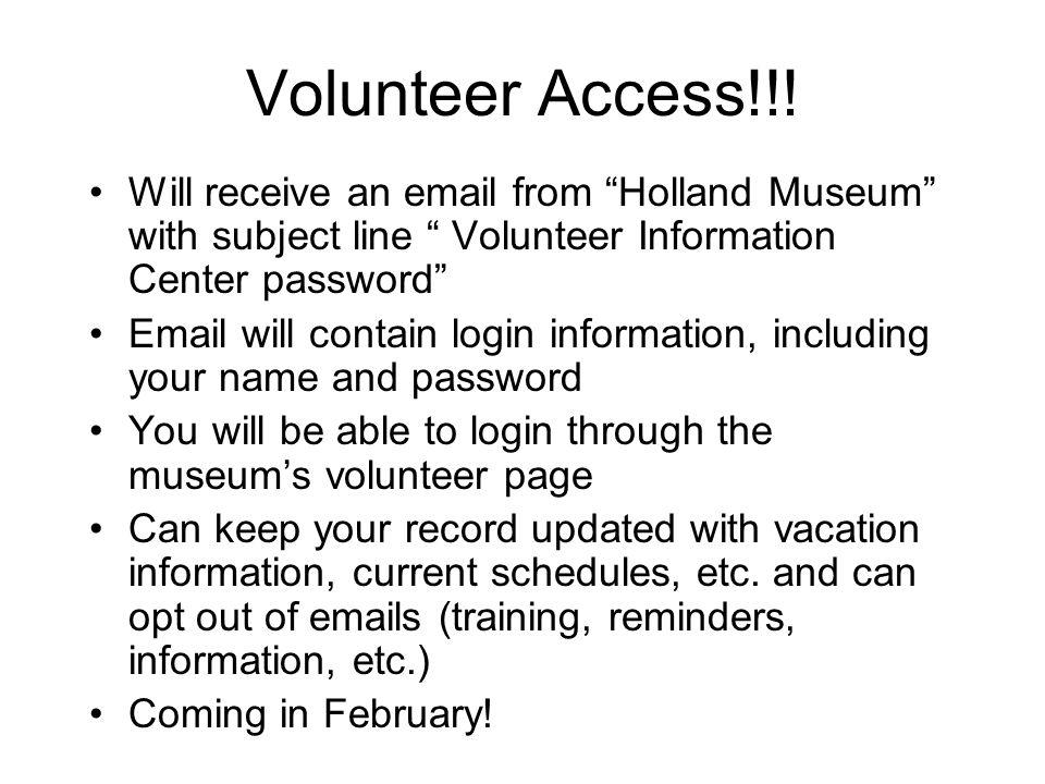 Volunteer Access!!.