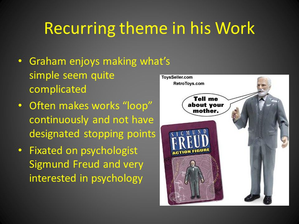 Recurring theme in his Work Graham enjoys making what's simple seem quite complicated Often makes works loop continuously and not have designated stopping points Fixated on psychologist Sigmund Freud and very interested in psychology