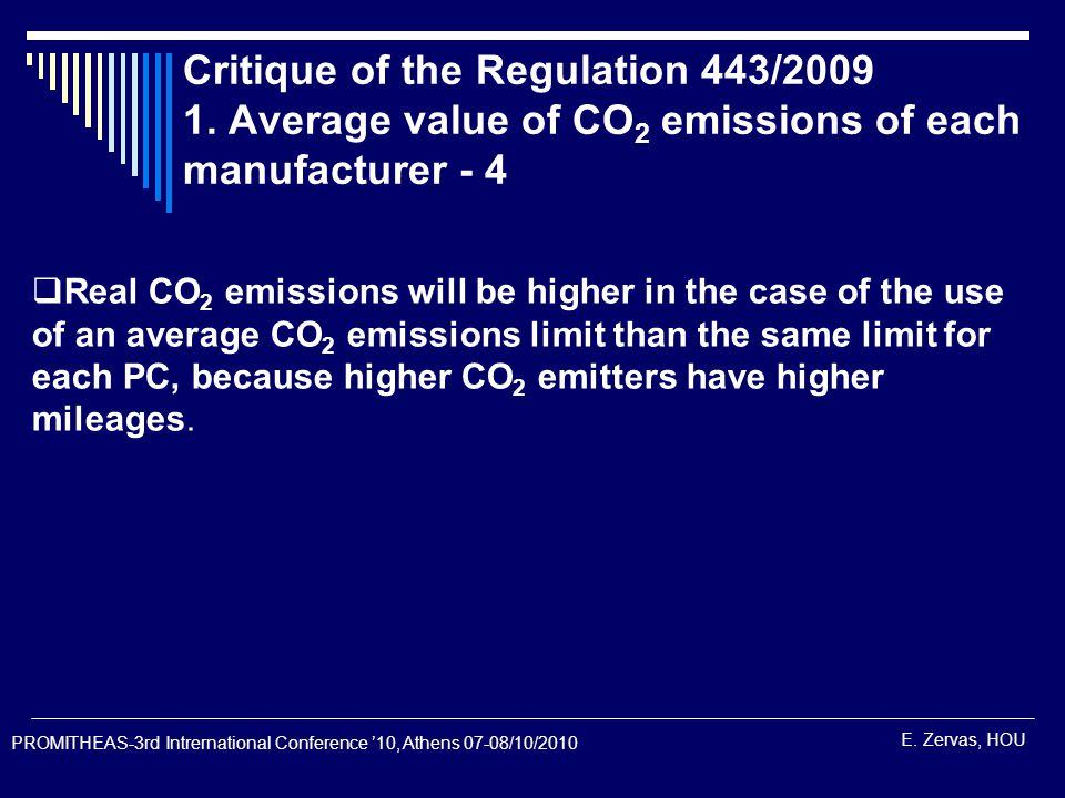 E. Zervas, HOU Critique of the Regulation 443/2009 1.