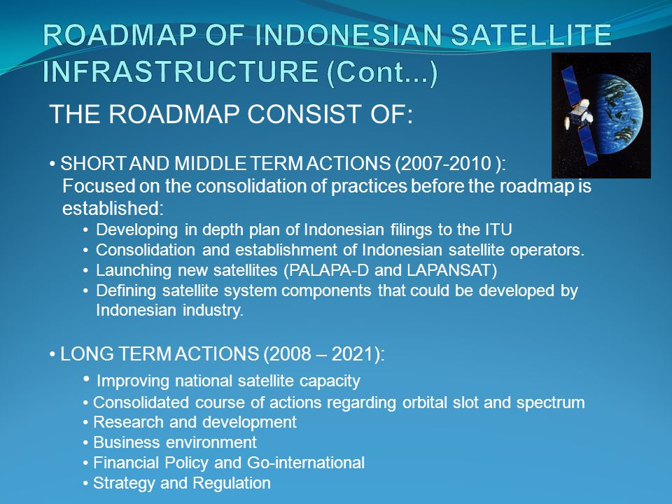 THE ROADMAP CONSIST OF: SHORT AND MIDDLE TERM ACTIONS ( ): Focused on the consolidation of practices before the roadmap is established: Developing in depth plan of Indonesian filings to the ITU Consolidation and establishment of Indonesian satellite operators.