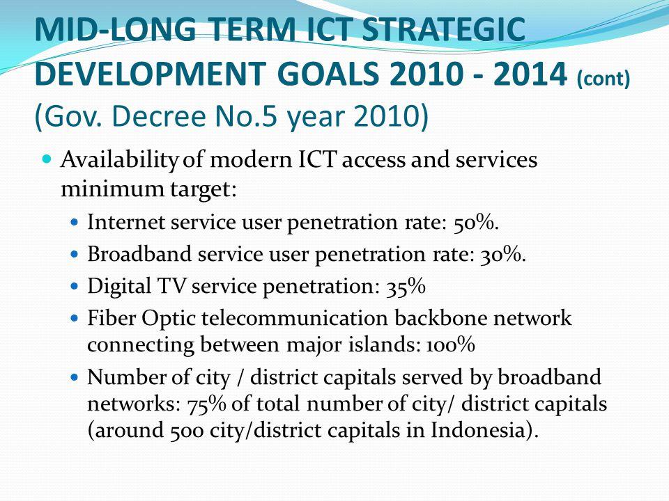 MID-LONG TERM ICT STRATEGIC DEVELOPMENT GOALS 2010 - 2014 (cont) (Gov.