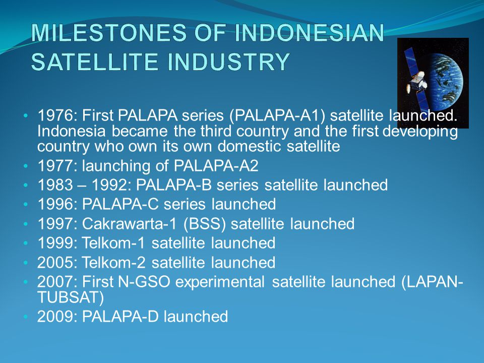 1976: First PALAPA series (PALAPA-A1) satellite launched.