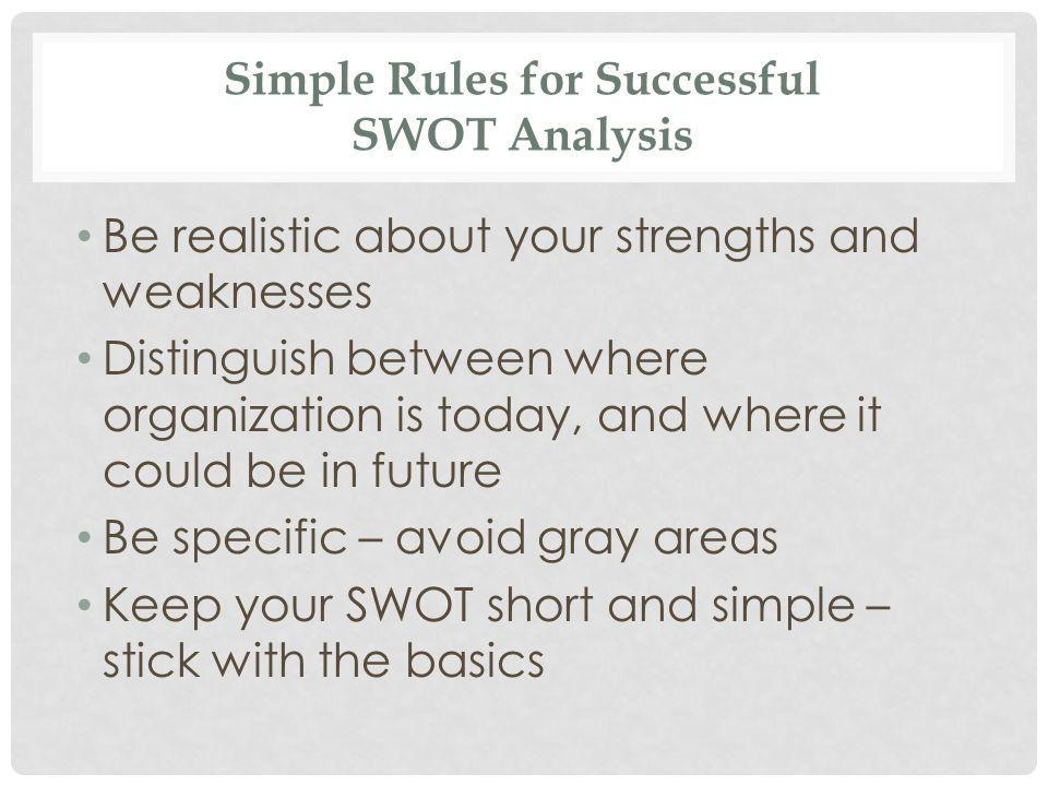 Simple Rules for Successful SWOT Analysis Be realistic about your strengths and weaknesses Distinguish between where organization is today, and where it could be in future Be specific – avoid gray areas Keep your SWOT short and simple – stick with the basics