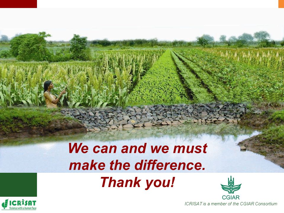 ICRISAT is a member of the CGIAR Consortium We can and we must make the difference. Thank you!