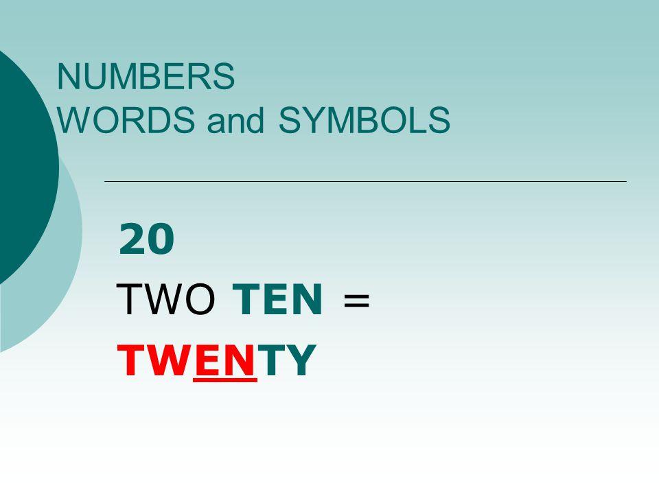 NUMBERS WORDS and SYMBOLS 1212 ONE TEN + TWO = TWELVE