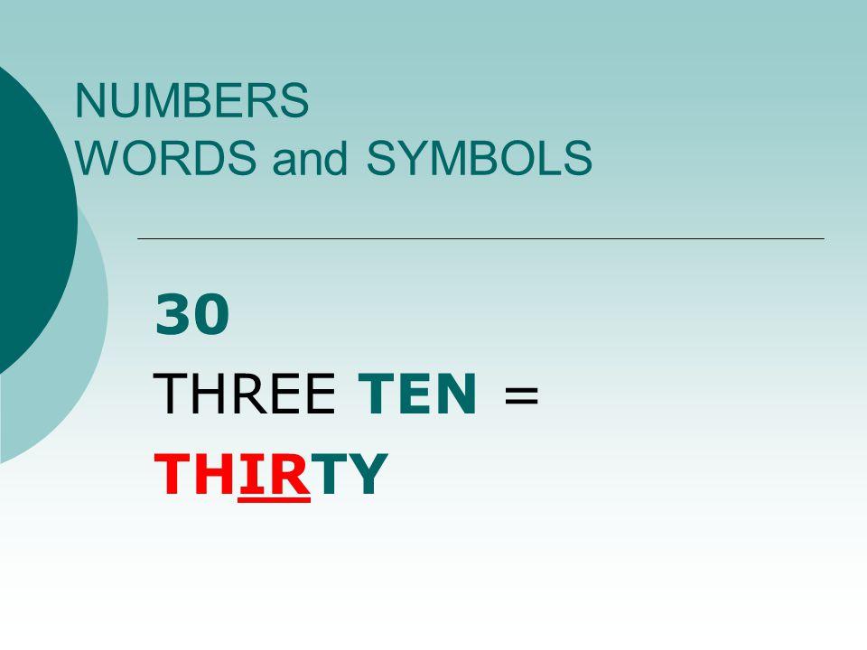 NUMBERS WORDS and SYMBOLS 13 ONE TEN + THREE = THIRTEEN