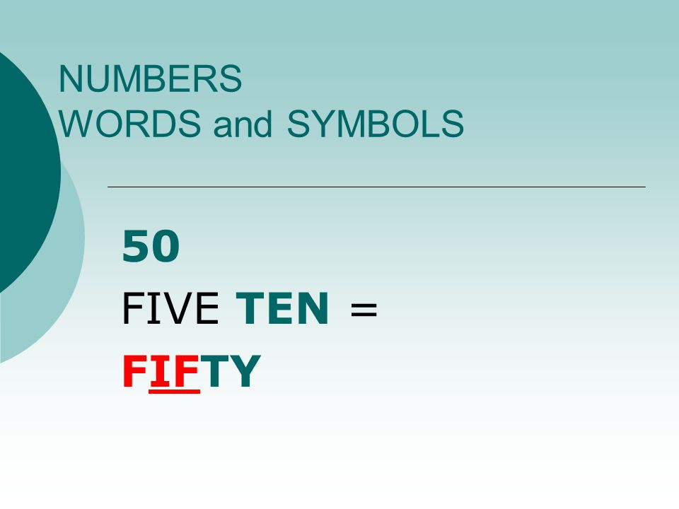 NUMBERS WORDS and SYMBOLS 1515 ONE TEN + FIVE = FIFTEEN