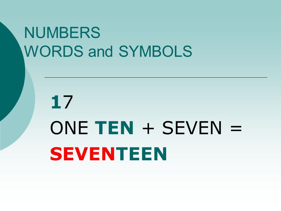 NUMBERS WORDS and SYMBOLS 7 SEVEN