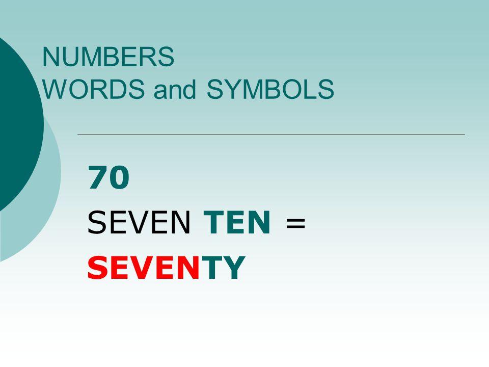 NUMBERS WORDS and SYMBOLS 17 ONE TEN + SEVEN = SEVENTEEN