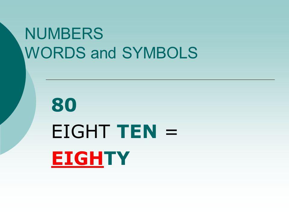 NUMBERS WORDS and SYMBOLS 18 ONE TEN + EIGHT = EIGHTEEN
