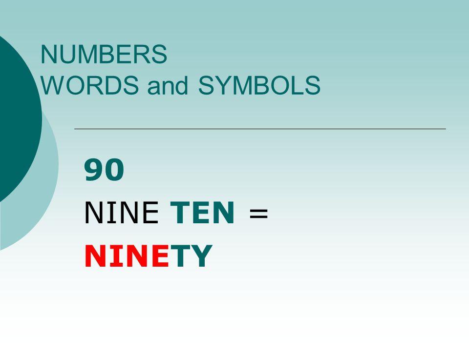 NUMBERS WORDS and SYMBOLS 19 ONE TEN + NINE = NINETEEN