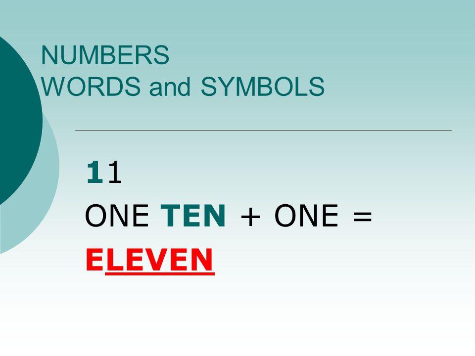 NUMBERS WORDS and SYMBOLS 10 ONE TEN = TEN