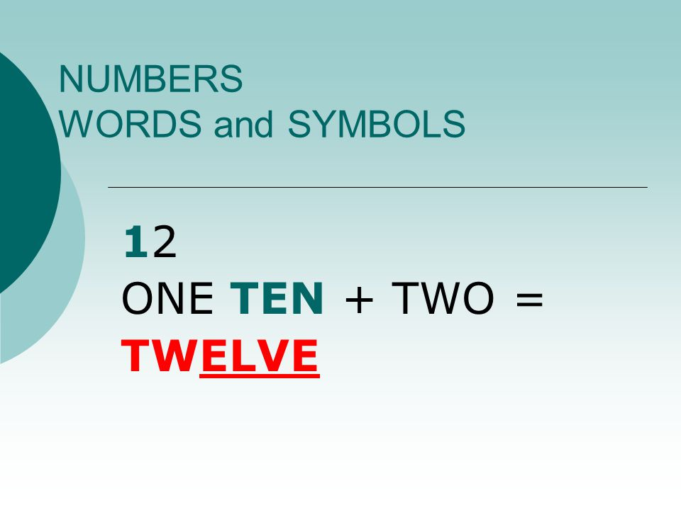 NUMBERS WORDS and SYMBOLS 1212 ONE TEN + TWO = TWELVE