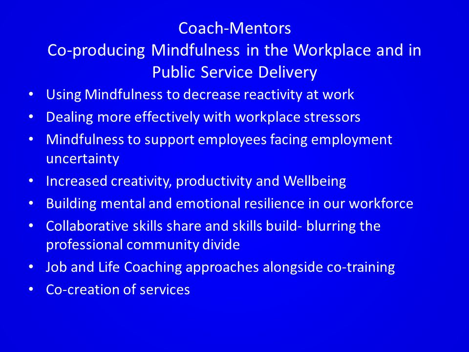 Coach-Mentors Co-producing Mindfulness in the Workplace and in Public Service Delivery Using Mindfulness to decrease reactivity at work Dealing more effectively with workplace stressors Mindfulness to support employees facing employment uncertainty Increased creativity, productivity and Wellbeing Building mental and emotional resilience in our workforce Collaborative skills share and skills build- blurring the professional community divide Job and Life Coaching approaches alongside co-training Co-creation of services