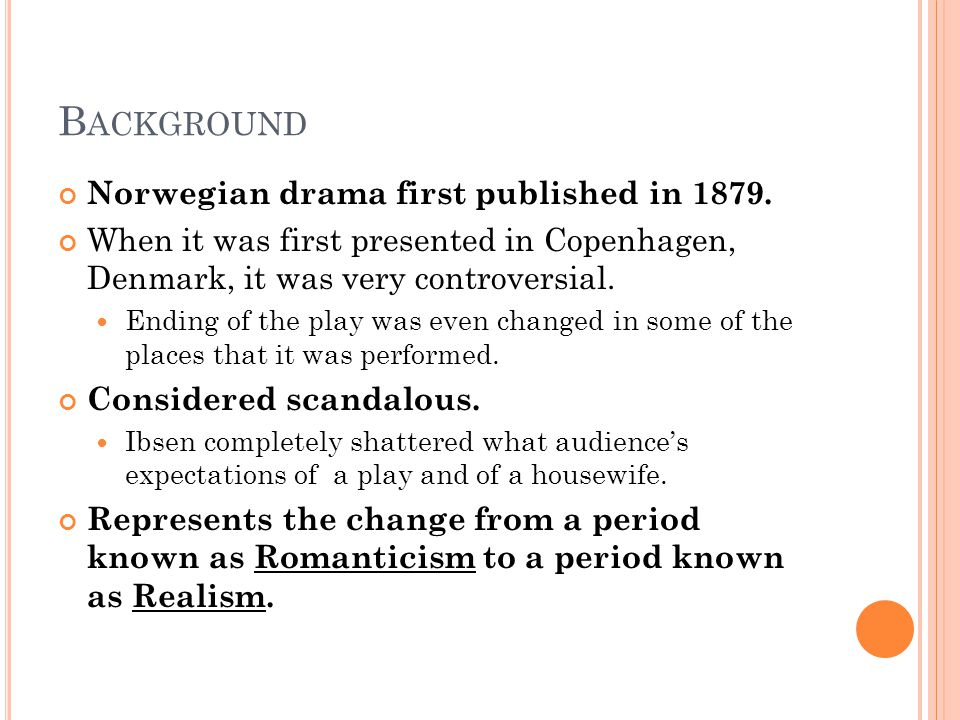 B ACKGROUND Norwegian drama first published in 1879. When it was first presented in Copenhagen, Denmark, it was very controversial. Ending of the play