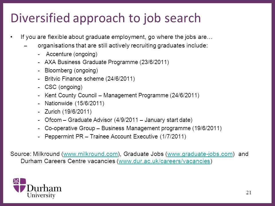 ∂ Diversified approach to job search 21 If you are flexible about graduate employment, go where the jobs are… – organisations that are still actively recruiting graduates include: - Accenture (ongoing) -AXA Business Graduate Programme (23/6/2011) -Bloomberg (ongoing) -Britvic Finance scheme (24/6/2011) -CSC (ongoing) -Kent County Council – Management Programme (24/6/2011) -Nationwide (15/6/2011) -Zurich (19/6/2011) -Ofcom – Graduate Advisor (4/9/2011 – January start date) -Co-operative Group – Business Management programme (19/6/2011) -Peppermint PR – Trainee Account Executive (1/7/2011) Source: Milkround (  Graduate Jobs (  and Durham Careers Centre vacancies (