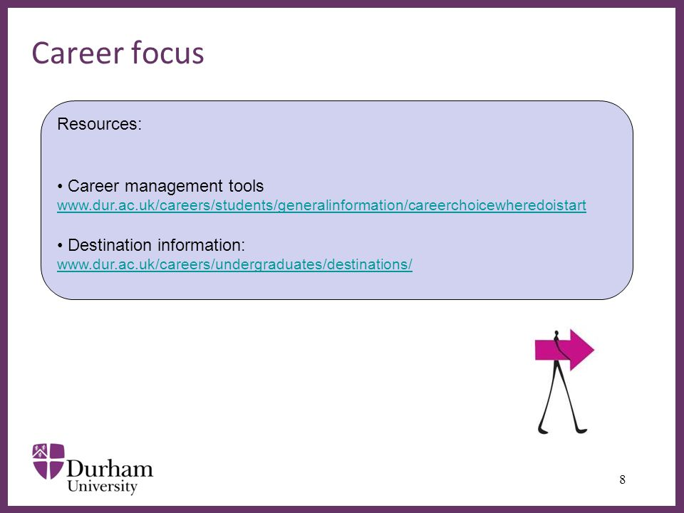 ∂ Career focus 8 Resources: Career management tools www.dur.ac.uk/careers/students/generalinformation/careerchoicewheredoistart www.dur.ac.uk/careers/