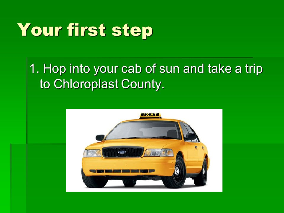 Your first step 1. Hop into your cab of sun and take a trip to Chloroplast County.