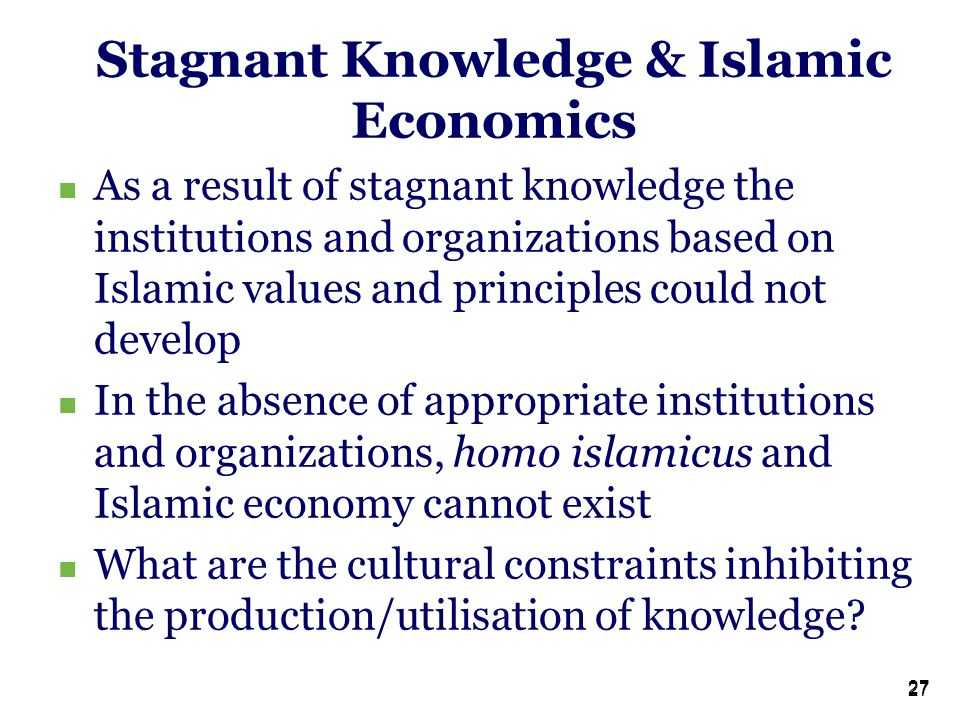 27 Stagnant Knowledge & Islamic Economics As a result of stagnant knowledge the institutions and organizations based on Islamic values and principles could not develop In the absence of appropriate institutions and organizations, homo islamicus and Islamic economy cannot exist What are the cultural constraints inhibiting the production/utilisation of knowledge