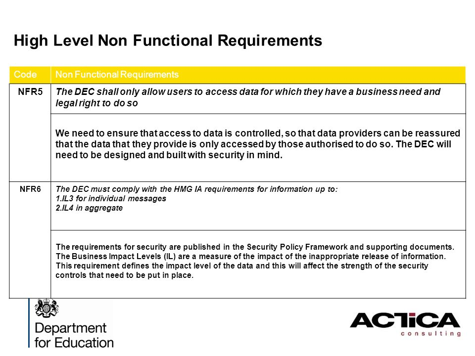 High Level Non Functional Requirements CodeNon Functional Requirements NFR5The DEC shall only allow users to access data for which they have a busines