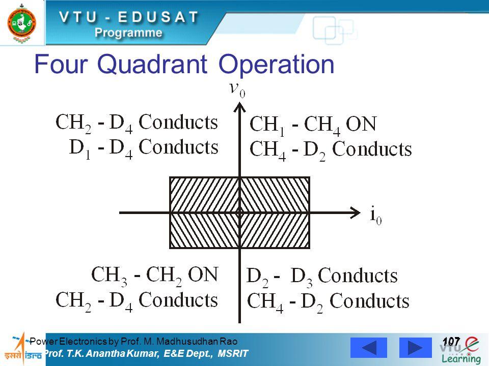 Power Electronics by Prof. M. Madhusudhan Rao 107 Prof. T.K. Anantha Kumar, E&E Dept., MSRIT Four Quadrant Operation