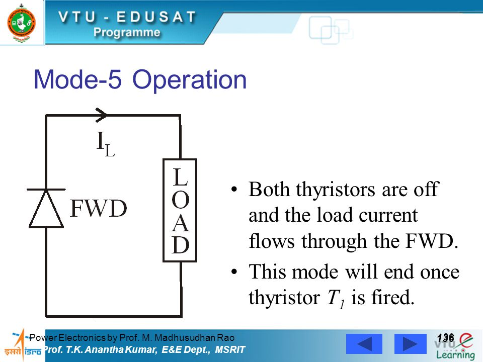 Power Electronics by Prof. M. Madhusudhan Rao 136 Prof. T.K. Anantha Kumar, E&E Dept., MSRIT Mode-5 Operation Both thyristors are off and the load cur