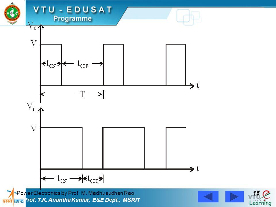 Power Electronics by Prof. M. Madhusudhan Rao 15 Prof. T.K. Anantha Kumar, E&E Dept., MSRIT